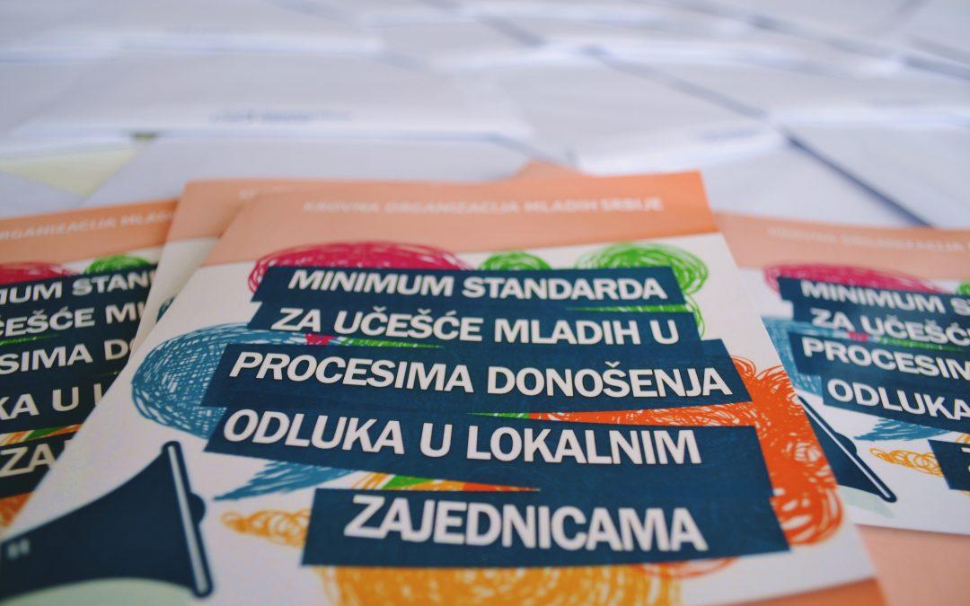 Preuzmite publikaciju Minimum standarda za učešće mladih u procesima donošenja odluka u lokalnim zajednicama