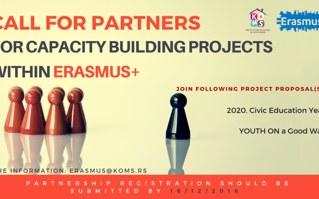 Call for partners for Capacity Building projects within Erasmus+
