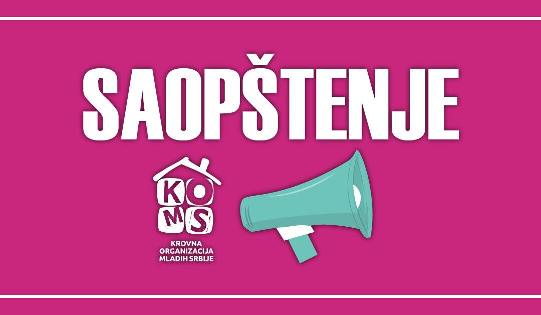 Saopštenje povodom nepovoljnog položaja mladih i omladinskih i organizacija za mlade u Srbiji