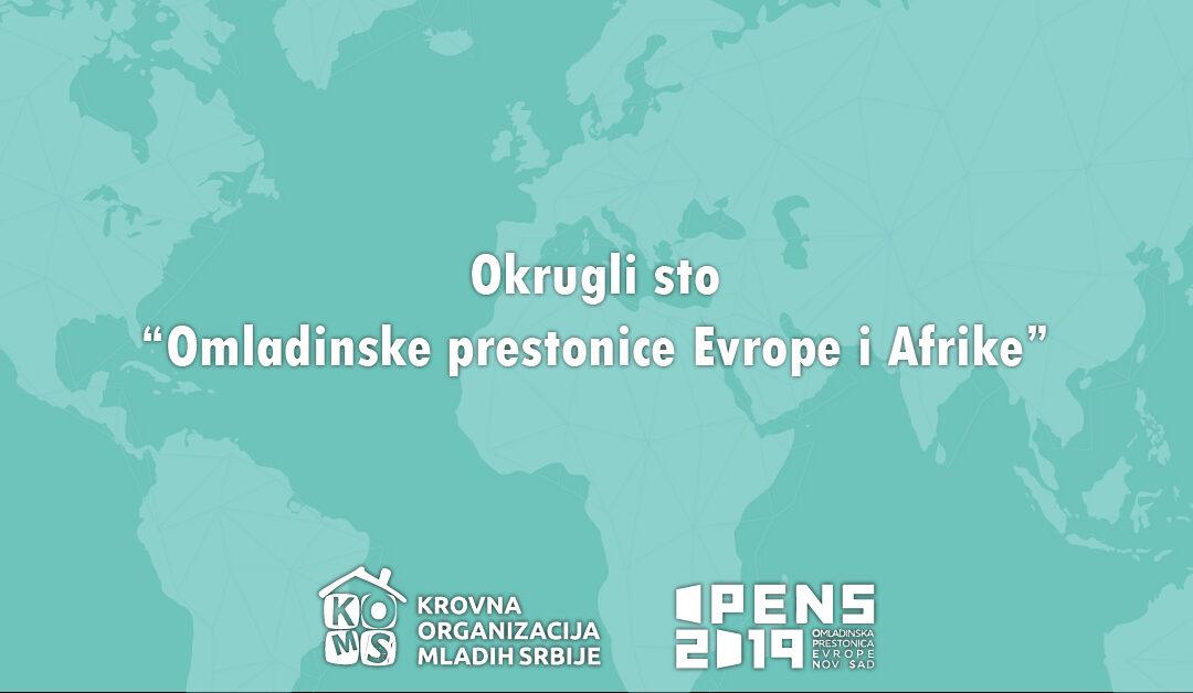 Omladinske prestonice Evrope i Afrike – prijavite se za učešće na okruglom stolu