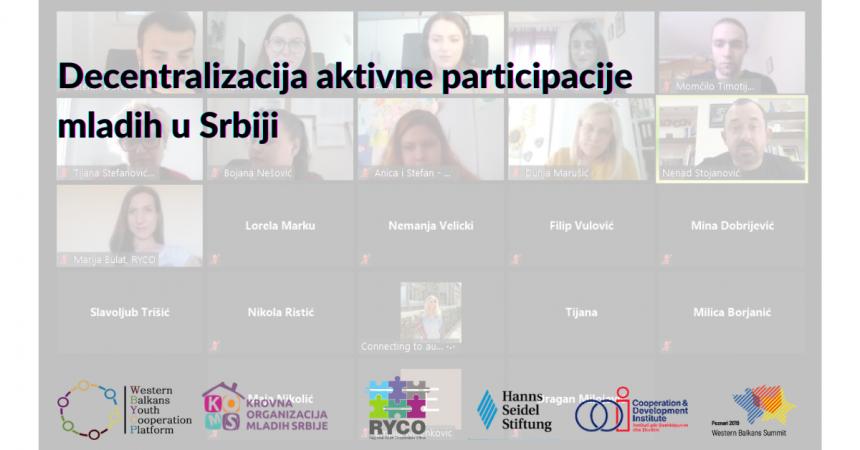Online diskusija: Decentralizacija aktivne participacije mladih u Srbiji